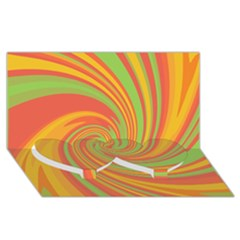 Green And Orange Twist Twin Heart Bottom 3d Greeting Card (8x4) by Valentinaart
