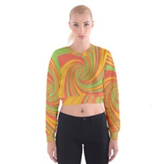 Green And Orange Twist Women s Cropped Sweatshirt by Valentinaart