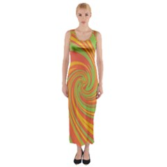 Green And Orange Twist Fitted Maxi Dress by Valentinaart