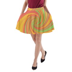 Green And Orange Twist A-line Pocket Skirt by Valentinaart