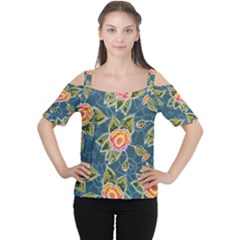 Floral Fantsy Pattern Women s Cutout Shoulder Tee by DanaeStudio