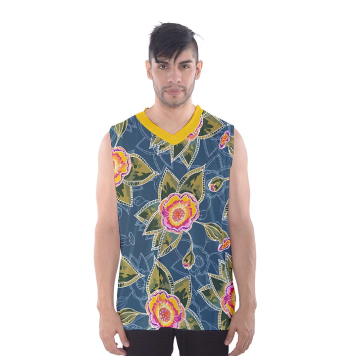 Floral Fantsy Pattern Men s Basketball Tank Top