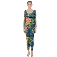 Floral Fantsy Pattern Long Sleeve Catsuit by DanaeStudio