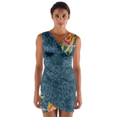 Blue Floral Pattern Wrap Front Bodycon Dress by DanaeStudio