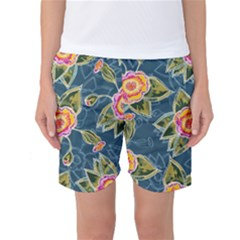 Floral Fantsy Pattern Women s Basketball Shorts by DanaeStudio