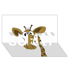 Giraffe  Sorry 3d Greeting Card (8x4) by Valentinaart