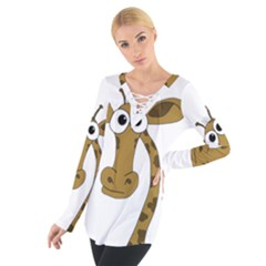 Giraffe  Women s Tie Up Tee by Valentinaart
