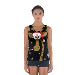 Christmas Giraffe Women s Sport Tank Top  by Valentinaart