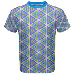 Colorful Retro Geometric Pattern Men s Cotton Tee by DanaeStudio