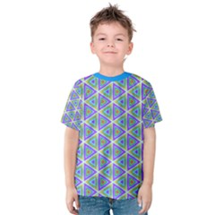 Colorful Retro Geometric Pattern Kids  Cotton Tee by DanaeStudio