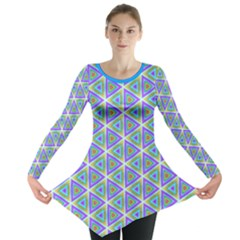 Colorful Retro Geometric Pattern Long Sleeve Tunic  by DanaeStudio
