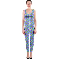 Colorful Retro Geometric Pattern Onepiece Catsuit by DanaeStudio