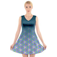 Ombre Retro Geometric Pattern V Neck Sleeveless Dress