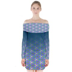 Ombre Retro Geometric Pattern Long Sleeve Off Shoulder Dress by DanaeStudio