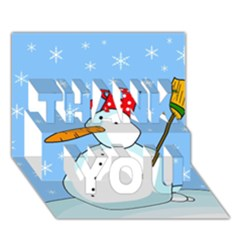 Snowman Thank You 3d Greeting Card (7x5) by Valentinaart