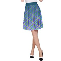 Ombre Retro Geometric Pattern A-line Skirt by DanaeStudio
