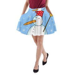 Snowman A Line Pocket Skirt