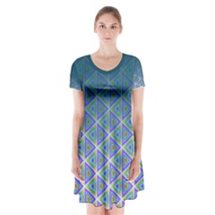 Ombre Retro Geometric Pattern Short Sleeve V Neck Flare Dress by DanaeStudio