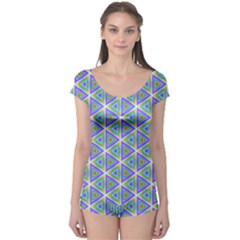 Colorful Retro Geometric Pattern Boyleg Leotard  by DanaeStudio