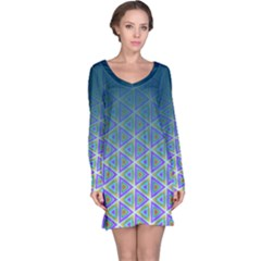 Ombre Retro Geometric Pattern Long Sleeve Nightdress by DanaeStudio