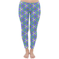 Colorful Retro Geometric Pattern Winter Leggings  by DanaeStudio