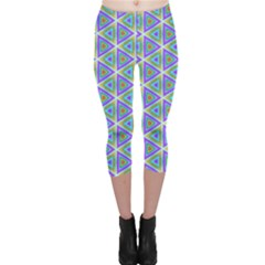 Colorful Retro Geometric Pattern Capri Leggings  by DanaeStudio