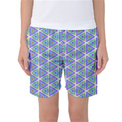 Colorful Retro Geometric Pattern Women s Basketball Shorts by DanaeStudio