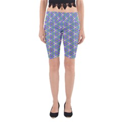 Colorful Retro Geometric Pattern Yoga Cropped Leggings by DanaeStudio
