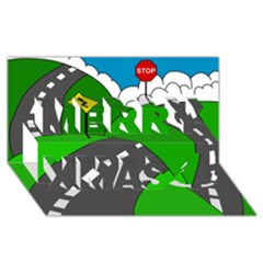 Hit The Road Merry Xmas 3d Greeting Card (8x4)