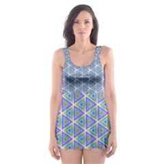 Colorful Retro Geometric Pattern Skater Dress Swimsuit by DanaeStudio