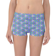 Colorful Retro Geometric Pattern Reversible Boyleg Bikini Bottoms by DanaeStudio