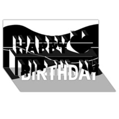 Black And White Happy Birthday 3d Greeting Card (8x4) by Valentinaart