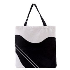 White And Black Abstraction Grocery Tote Bag by Valentinaart