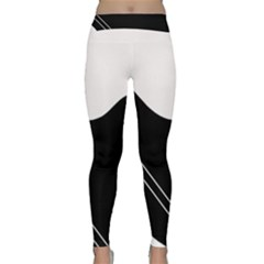 White And Black Abstraction Yoga Leggings  by Valentinaart