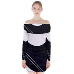 White And Black Abstraction Long Sleeve Off Shoulder Dress by Valentinaart