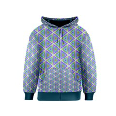 Colorful Retro Geometric Pattern Kids  Zipper Hoodie by DanaeStudio