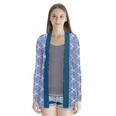 Colorful Retro Geometric Pattern Drape Collar Cardigan by DanaeStudio