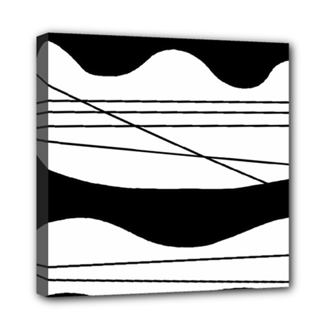 White And Black Waves Mini Canvas 8  X 8  by Valentinaart