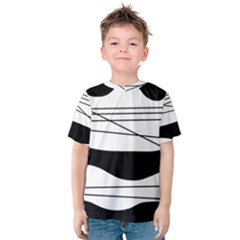 White And Black Waves Kids  Cotton Tee by Valentinaart