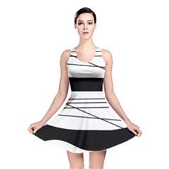 White And Black Waves Reversible Skater Dress by Valentinaart