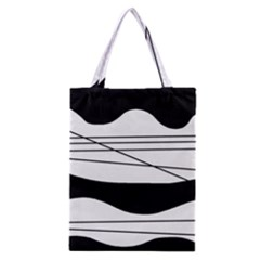 White And Black Waves Classic Tote Bag by Valentinaart