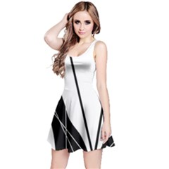 White And Black  Reversible Sleeveless Dress by Valentinaart