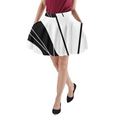 White And Black  A Line Pocket Skirt by Valentinaart