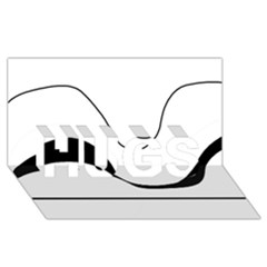 Waves   Black And White Hugs 3d Greeting Card (8x4) by Valentinaart