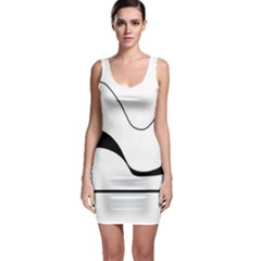 Waves   Black And White Sleeveless Bodycon Dress