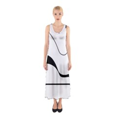 Waves   Black And White Sleeveless Maxi Dress by Valentinaart
