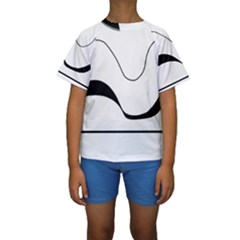 Waves   Black And White Kids  Short Sleeve Swimwear