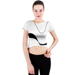 Waves   Black And White Crew Neck Crop Top