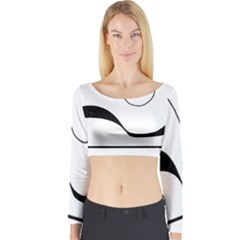Waves   Black And White Long Sleeve Crop Top