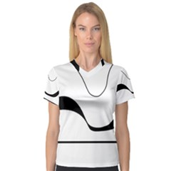 Waves   Black And White Women s V Neck Sport Mesh Tee by Valentinaart